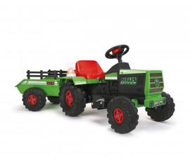 Детски акумулаторен трактор с ремарке Injusa, червено, с батерия 6V 636
