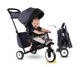 детска сгъваема триколка с родителски контрол smartFold STR7 Vibe, дънков цвят 5503200