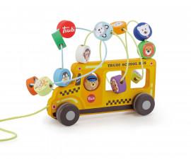 Sevi 88016 - Детска дървена играчка за дърпане Училищен автобус