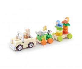Sevi 88028 - Детска дървена играчка Сафари влакче