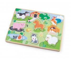 Sevi 88033 - Детска дървена играчка Пъзел ферма със звуци