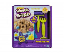 Детска играчка с несъхнещ пясък Kinetic Sand - Комплект с инструменти за плажни творения