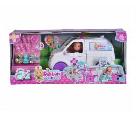 Кукла Evi Love, Simba Toys 105733488 - Еви доктор с ветеринарна линейка 2-в-1