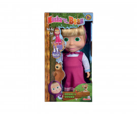 Кукла Masha and the Bear, Simba Toys 109301074 - Смееща се кукла Маша, 30 см