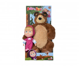 Детски игрален комплект Masha and the Bear голяма кукла Маша и плюшен мечок
