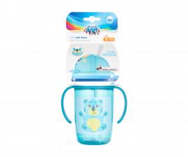 Нетечаща чаша с дръжки и силиконова сламка Canpol Happy Little, 400 мл, тюркоаз 56/500_tur