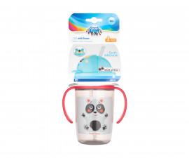 Нетечаща чаша с дръжки и силиконова сламка Canpol Happy Little, 400 мл, бежова 56/500_bei