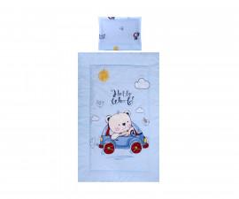 Бебешки спален комплект Lorelli Ранфорс, 3 части, мече с кола синьо 20800014601