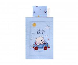 Бебешки спален комплект Lorelli Ранфорс, 4 части, мече с кола синьо 20800024601