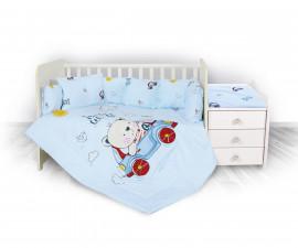 спален комплект за бебе ЛорелиТренд Ранфорс, Мече с Кола Синьо