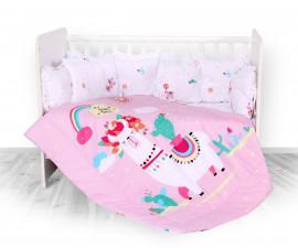 Бебешки спален комплект от 5 части с обиколник Lorelli Ранфорс, хепи лама 20800084501
