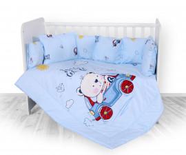 Бебешки спален комплект от 5 части с обиколник Lorelli Ранфорс, кола син 20800084601