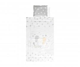 Бебешки спален комплект Lorelli Ранфорс, 4 части, сиво слонче звезди 20800024701