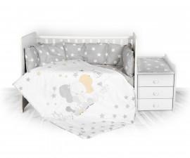 спален комплект за бебе ЛорелиТренд Ранфорс, Сиво Слонче Звезди