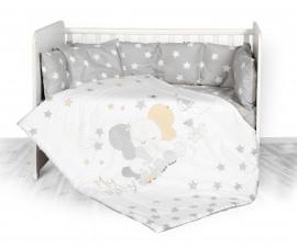 Бебешки спален комплект от 5 части с обиколник Lorelli Ранфорс, сиво слонче и звезди 20800084701