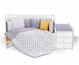 спален комплект за бебе ЛорелиТренд Ранфорс, Облаци Сиво