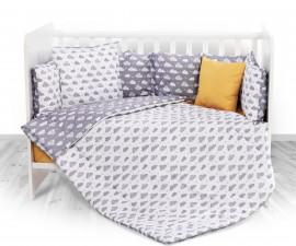 Бебешки спален комплект от 5 части с обиколник Lorelli Ранфорс, облаци сиво 20800084901