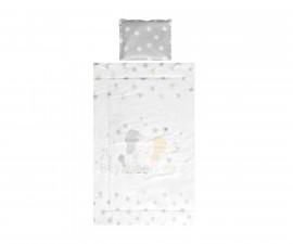 Бебешки спален комплект от 3 части Lorelli Cosy Ранфорс, сиво слонче звезди