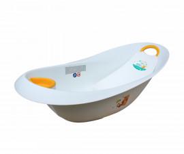 Детска вана за къпане на бебе с източване и подложка Lorelli Luxe 87 см, Мечо бяла 10130730091
