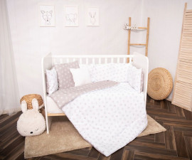 Бебешки спален комплект от 5 части с голям обиколник Lorelli Ранфорс, абстрактни листа сиво/бежово 20800085001