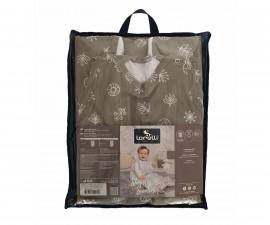 Лятно спално чувалче за бебе Lorelli Ранфорс 85 см, сиво/бежово с листа 20810345002