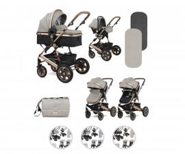 Комбинирана бебешка количка с обръщаща се седалка за деца до 15кг Lorelli Lora Set, асортимент 10021282182