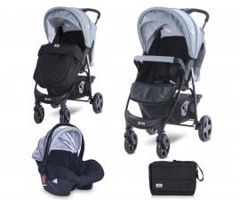 Комбинирана бебешка количка с обръщаща се седалка за деца до 22кг Lorelli Daisy Basic Set, Black Silver Blue 10021642124