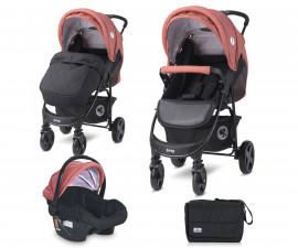 Комбинирана бебешка количка с обръщаща се седалка за деца до 22кг Lorelli Daisy Basic Set, Black Ginger Orange 10021642181