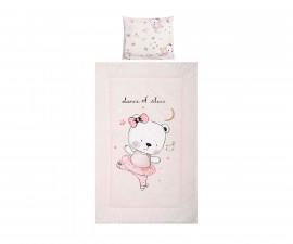 Бебешки спален комплект от 3 части Lorelli Cosy 3 Ранфорс, розов мече балерина 10420015101