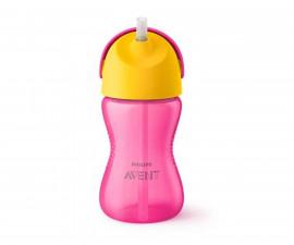 Бебешка чаша със сламка Philips-Avent, 300 мл, 12м+, за момиче