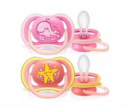 Ортодонтични залъгалки за бебета Philips-Avent Ultra Air, 2 бр.+ стерилизаторна кутия, момиче, 6-18 м. 00A.0516.012