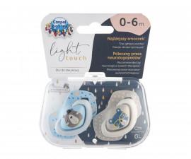 Комплект от симетрични силиконови залъгалки за бебета Canpol Bounjour Paris, 2 броя, 0-6 м, сини 22/647_blu