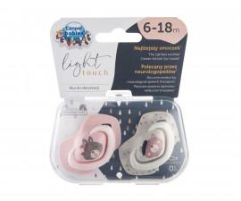 Комплект от симетрични силиконови залъгалки за бебета Canpol Bounjour Paris, 2 броя, 6-18 м, розови 22/648_pin