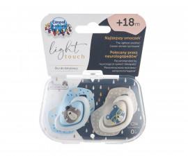 Комплект от симетрични силиконови залъгалки за бебета Canpol Bounjour Paris, 2 броя, 18+ м, сини 22/649_blu