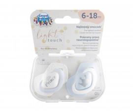 Комплект от симетрични силиконови залъгалки за бебета Canpol Royal Baby, 2 броя, 6-18 м, сини 22/651_blu