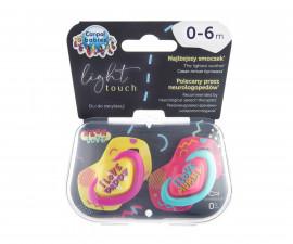 Комплект от симетрични силиконови залъгалки за бебета Canpol Neon Love, 2 броя, 0-6 м, розови 22/652_pin