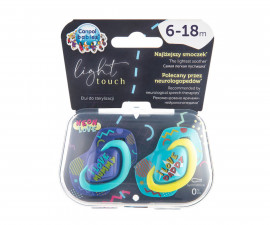 Комплект от симетрични силиконови залъгалки за бебета Canpol Neon Love, 2 броя, 6-18 м, сини 22/653_blu