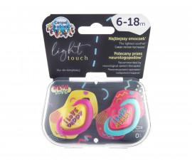 Комплект от симетрични силиконови залъгалки за бебета Canpol Neon Love, 2 броя, 6-18 м, розови 22/653_pin