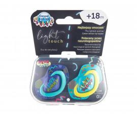 Комплект от симетрични силиконови залъгалки за бебета Canpol Neon Love, 2 броя, 18+ м, сини 22/654_blu