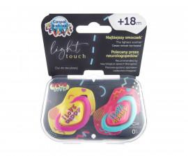Комплект от симетрични силиконови залъгалки за бебета Canpol Neon Love, 2 броя, 18+ м, розови 22/654_pin