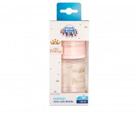 Шише за хранене антиколик с широко гърло Canpol Easy Start Royal Baby, 120 мл, розово 35/233_pin