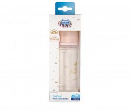 Шише за хранене антиколик с широко гърло Canpol Easy Start Royal Baby, 240 мл, розово 35/234_pin