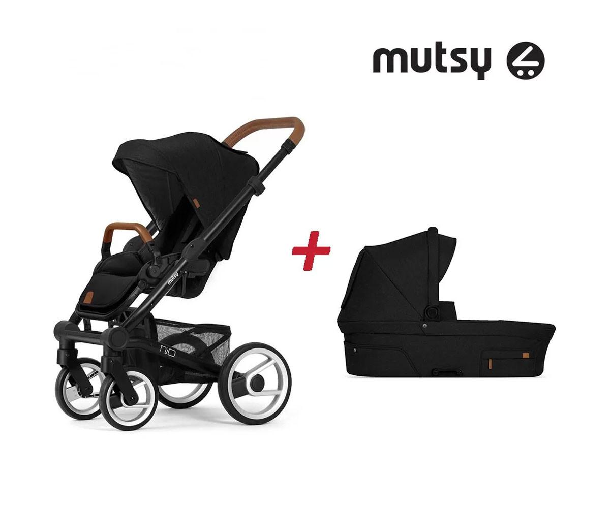 Пакет Mutsy Nio North Black - Шаси Black със светло кафява дръжка, седалка със сенник и кош за новородено MT.0430.001