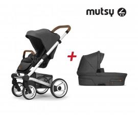 Пакет Mutsy Nio North Grey - Шаси Standart със светло кафява дръжка, седалка със сенник и кош за новородено MT.0430.002
