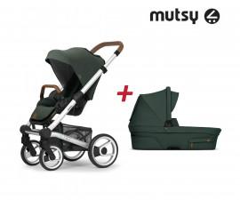 Пакет Mutsy Nio Adventure Pine Green - Шаси Standart със светло кафява дръжка, седалка със сенник и кош за новородено MT.0431.002