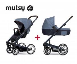 Пакет Mutsy IGO Deep Blue детска количка - Шаси с тъмно кафява дръжка, седалка Farmer Fishbone Blue Sky, кош за новородено, чанта, дъждобран и адаптори за столче MT.0423.001
