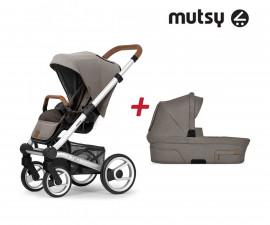 Пакет Mutsy Nio North Sand - Шаси Standard със светло кафява дръжка, седалка със сенник и кош за новородено
