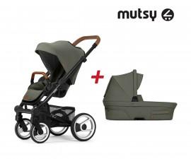 Пакет Mutsy Nio Adventure sea green - Шаси black със светло кафява дръжка, седалка със сенник и кош за новородено