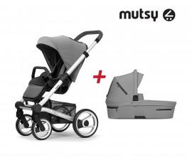 Пакет Mutsy Nio Journey ice grey - Шаси Standard със сива дръжка, седалка със сенник и кош за новородено