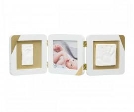 Kвадратен oтпечатък за ръчичка и краче Baby Art, бяла със златисти ъгли и паспарту BA.00015.008